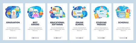 Mobile app onboarding screens. Online school, university student, course schedule, studying, graduation. Menu vector banner template for website and mobile development. Web site design flat illustration
