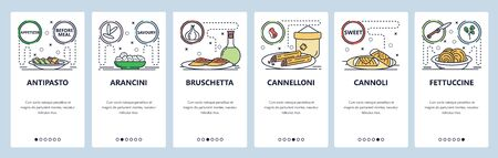 Mobile app onboarding screens. Intalian food cuisine, pasta, bruschetta, cannoli, cannelloni. Menu vector banner template for website and mobile development. Web site design flat illustration. Vettoriali