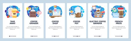 Mobile app onboarding screens. Take away coffee cup, french press, coffee grinder. Menu vector banner template for website and mobile development. Web site design flat illustration.