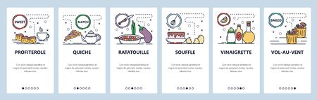 Mobile app onboarding screens. French cuisine and food, profiterole, ratatouille, souffle. Menu vector banner template for website and mobile development. Web site design flat illustration.