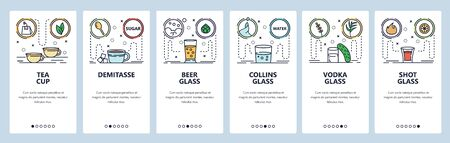 Mobile app onboarding screens. Alcohol glasses and cups. Menu vector banner template for website and mobile development. Web site design flat illustration