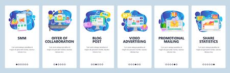 Mobile app onboarding screens. Digital media marketing, business analytics, video promotion and advertisement. Vector banner template for website and mobile development. Web site flat illustration Иллюстрация
