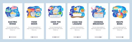 Mobile app onboarding screens. Cooking breakfast meal, food mixer, stove, recipe book, cook soup. Menu vector banner template for website and mobile development. Web site design flat illustration