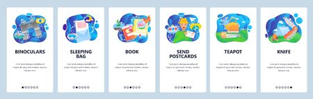 Mobile app onboarding screens. Travel and outdoor camping, sleeping bag, binoculars, teapot, knife, tent. Vector banner template for website and mobile development. Web site design flat illustration Stock Illustratie