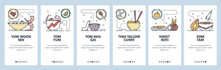 Mobile app onboarding screens. Thai cuisine, food menu, tom yum soup, roti, som tam salad, thai yellow curry. Vector banner template for website and mobile development. Web site design flat illustration.