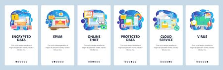 Mobile app onboarding screens. Data protection, secure access, spam and malware, hacker, virus, cloud storage. Vector banner template for website and mobile development. Web site design illustration