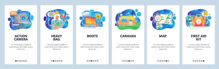 Mobile app screens. Female traveller with heavy bagpack, hiking boots, photo camera, caravan, map, first aid kit. Vector banner template for website and mobile development. Web site illustration