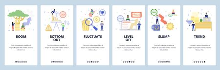 Mobile app onboarding screens. Economy, financial and trading icons, stock exchange, business market. Menu vector banner template for website and mobile development. Web site design flat illustration
