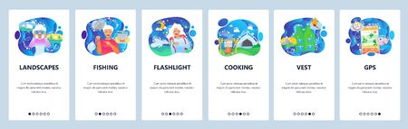 Mobile app onboarding screens. Travel and outdoor camping, campfire, map, fishing, flashlight. Menu vector banner template for website and mobile development. Web site design flat illustration Stock Illustratie