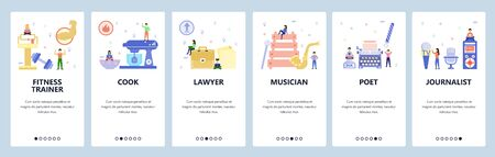 Mobile app onboarding screens. Professions, lawyer, musician, writer, journalist, fitness trainer. Menu vector banner template for website and mobile development. Web site design flat illustration Foto de archivo - 132858564