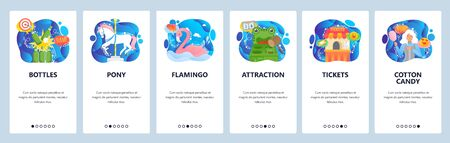 Mobile app onboarding screens. Amusement park games, ticket booth, cotton candy, pony rides. Menu vector banner template for website and mobile development. Web site design flat illustration. Stock Illustratie