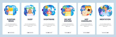 Mobile app onboarding screens. Sleeping mode, nightmare, do not disturb, hot chocolate drink, meditation. Menu vector banner template for website and mobile development. Web site design flat illustration. Archivio Fotografico - 133045007