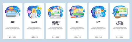 Mobile app onboarding screens. Hotel service, bed, room, maid, search hotel and booking, spa, rating. Menu vector banner template for website and mobile development. Web site design flat illustration Ilustracja
