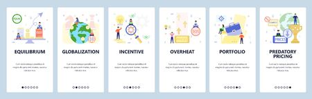 Mobile app onboarding screens. Business, financial and economy icons, globalization, portfolio. Menu vector banner template for website and mobile development. Web site design flat illustration