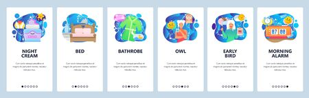 Mobile app onboarding screens. Morning alarm clock, early bird and owl person, cream, bed. Menu vector banner template for website and mobile development. Web site design flat illustration Archivio Fotografico - 133371952