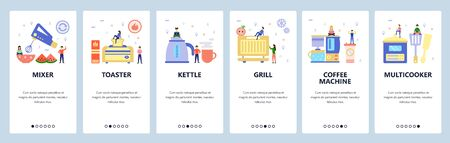 Mobile app onboarding screens. Home kitchen appliances, kettle, toaster, grill, coffee machine, cooker. Vector banner template for website and mobile development. Web site design flat illustration Illusztráció