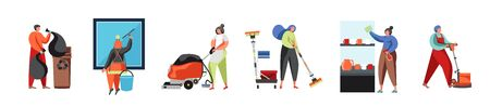 Cleaning company staff, vector flat isolated illustration Vectores