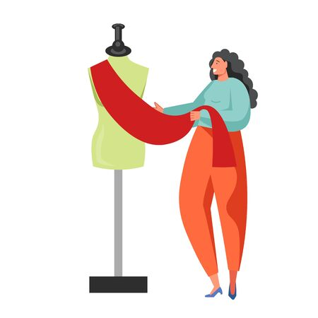 Sewing business people, vector flat isolated illustration Vectores
