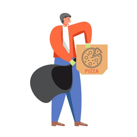 Waste collection and street cleaning, vector flat isolated illustration Ilustração
