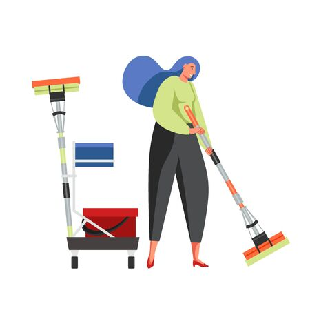 Commercial cleaning services, vector flat isolated illustration Фото со стока - 133934112