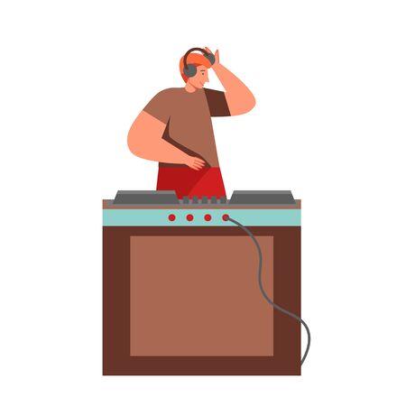 Celebration party DJ, vector flat isolated illustration