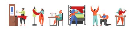 Sewing business people, vector flat isolated illustration
