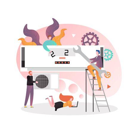 Servizi di condizionamento dell'aria e illustrazione del concetto di vettore di manutenzione