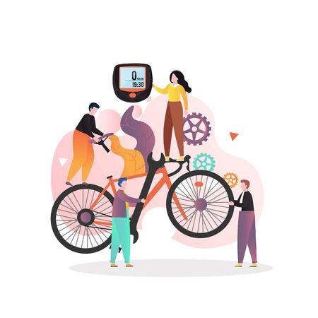 Concept de vecteur de service de vélo pour bannière web, page de site Web