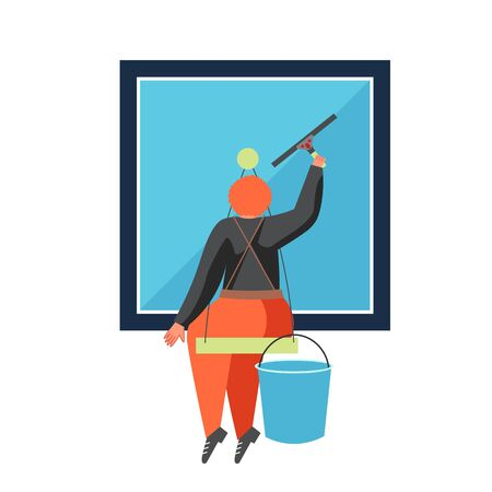 Commercial cleaning services, vector flat isolated illustration