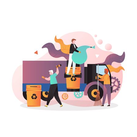 Cleaning street vector concept for web banner, website page