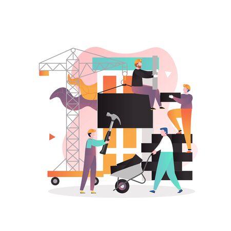 Concepto de vector de industria de la construcción para banner web, página web Ilustración de vector