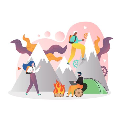Hiking vector concept for web banner, website page