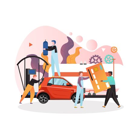Gas station vector concept for web banner, website page