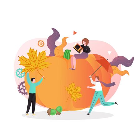 Autumn harvest vector concept for web banner, website page Ilustracja