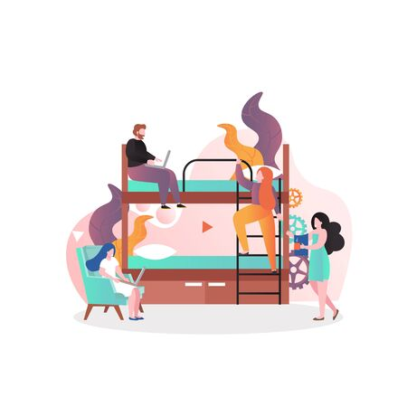Hostel business vector concept for web banner, website page