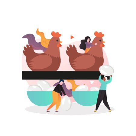 Poultry farming vector concept for web banner, website page