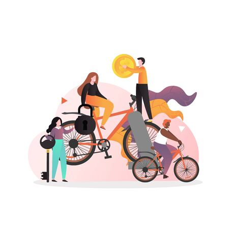 Male and female characters riding bike, holding key, lock, dollar coin, vector illustration. Bike sharing, rental bicycle service concept for web banner, website page etc.