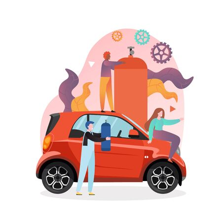 Young woman driver sitting on red automobile, workers with gas fuel balloons, vector illustration. Gas station, refueling concept for web banner, website page etc.