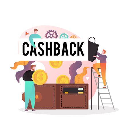 Group of male characters getting cash back money for online shopping, big dollar coins falling down into wallet with credit card, vector illustration. Money transfer, cashback concept for web banner.
