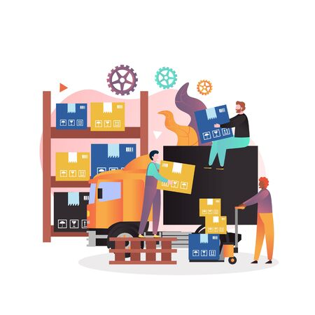 Delivery truck, warehouse shelves, workers loaders with cardboard boxes, vector illustration. Transport and delivery services, warehouse logistics and shipping concept for web banner, website page etc Illustration