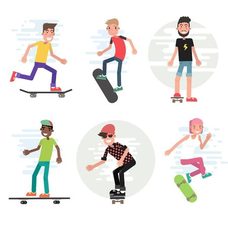 Modern urban teenage boys and girls on skateboard vector illustration. Set of isolated cartoon characters. City skaters have fun and do stunt and tricks. Skate extreme sport