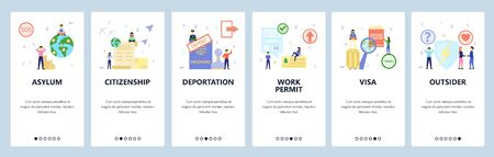 Mobile app onboarding screens. Immigration and international travel, asylum and citizenship, visa, passport. Menu vector banner template for website and mobile development. Web site flat illustration