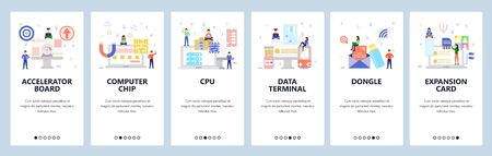 Mobile app onboarding screens.Computer hardware technology, data terminal, computer chip, graphic card, cpu. Vector banner template for website and mobile development. Web site design illustration