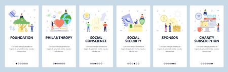 Mobile app onboarding screens. Charity foundation, money tree, business deal, social security. Menu vector banner template for website and mobile development. Web site design flat illustration