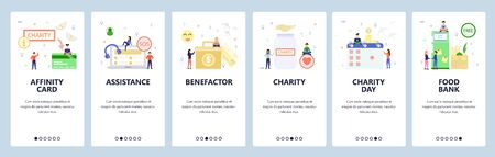 Mobile app onboarding screens. Charity, call center and support, money box, calendar, food bank. Menu vector banner template for website and mobile development. Web site design flat illustration