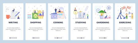 Mobile app onboarding screens. Writing, shopping, cooking, studying, exercising. Menu vector banner template for website and mobile development. Web site design flat illustration. Vektoros illusztráció