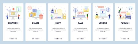 Mobile app onboarding screens. Secure file access, download and upload, typewriter, delete computer files. Menu vector banner template for website and mobile development. Web site design flat illustration.
