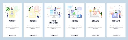 Mobile app onboarding screens. Job application, yes and no hand gestures, make money, phone call. Menu vector banner template for website and mobile development. Web site design flat illustration. Ilustração