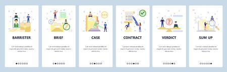 Mobile app onboarding screens. Pretrial agreement, court, legal case, verdict, barrister, lawyer. Menu vector banner template for website and mobile development. Web site design flat illustration.