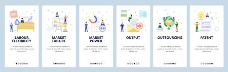 Mobile app onboarding screens. Business chart and financial presentation, email documents output. Menu vector banner template for website and mobile development. Web site design flat illustration Vetores